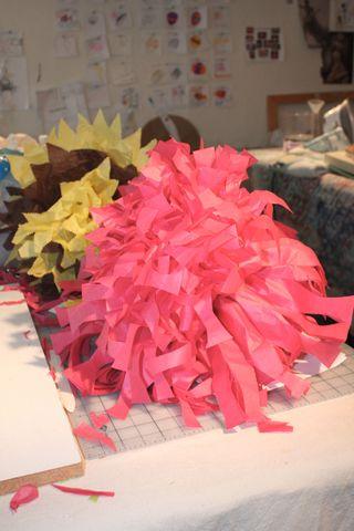 Tissue paper pompoms in progress