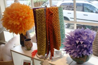 pom poms pompoms in the window at Parker Brown Textiles Rockport Massachusetts